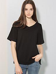 Tee-shirt Femme,Couleur Pleine Bureau/Carrière Décontracté simple Manches Courtes Col Arrondi Coton