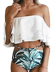 Femme Bandeau Bikinis Fleur Volants,Polyester Imprimé