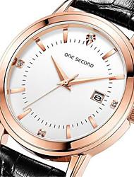 Men's Fashion Watch Quartz Calendar Water Resistant / Water Proof Leather Band Black