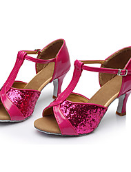 Для женщин Латина Блестки Сандалии Для закрытой площадки Пайетки Каблуки на заказ Пурпурный Персонализируемая