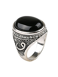 Classic Vintage Ring Zinc Alloy Resin Carve Oval Shape Rings Simulated Gemstone Black Stone