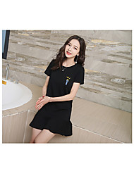 Women's Casual/Daily Bodycon Dress,Playing with Apple Logo Round Neck Knee-length Sleeveless Polyester Summer Mid Rise Micro-elastic