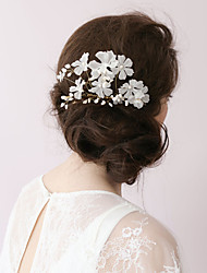 Natural Pearl Rhinestone Organza Flower Headpiece-Wedding Special Occasion Outdoor Hair Combs 1 Piece By Hand