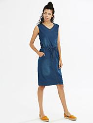 Toile de jean Robe Femme Décontracté / Quotidien simple,Couleur Pleine Col en V Au dessus du genou Sans Manches Bleu Polyester EtéTaille
