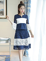 Women's Going out Casual/Daily Beach Vintage Cute Sophisticated Spring Summer Fall Blouse Dress Suits,Solid V Neck 1/2 Length Sleeve