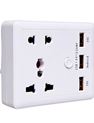 Power Strip 3 USB Ports 2 Outles Socket 10A 140V EU Plug