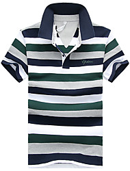 Men's Business Other Daily Casual Indoor Leisure Sports Casual/Daily Vintage Simple Street chic Spring Summer Polo,Striped Print Letter &