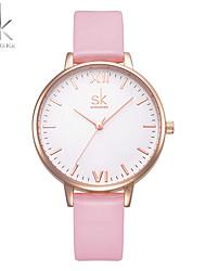 SK Mulheres Relógio Elegante Relógio de Moda Bracele Relógio Chinês Quartzo Impermeável Resistente ao Choque Couro PU BandaPendente