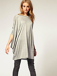 Women's Casual/Daily Simple T-shirt,Solid Round Neck Long Sleeve Cotton Bamboo Fiber