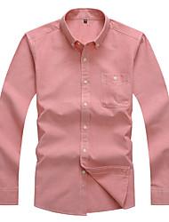 Camicia Da uomo Casual Ufficio Semplice Per tutte le stagioni Primavera,Tinta unita Colletto Cotone Poliestere Manica lunga Medio spessore