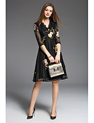 YANG X-M Women's Going out Casual/Daily Party A Line DressEmbroidered V Neck Above Knee  Length Sleeve Polyester Taffeta Spring Summer Mid Rise