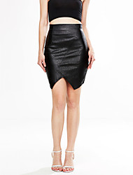 Women's Bodycon Solid Skirts,Casual/Daily High Rise Above Knee Zipper PU Micro-elastic Fall / Winter