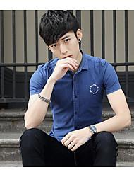 Hombre Simple Camisa,Escote Chino A Lunares Manga Corta Algodón