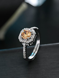 Engagement  Amethyst Citrine AAA Cubic Zirconia Fashion Luxury Silver Gemstone Round S925  Adjustable Size Ring Jewelry For Wedding Party