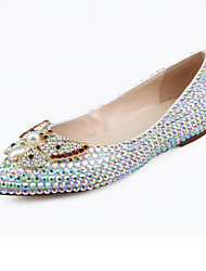 Women's Flats Spring Summer Fall Winter Comfort Novelty Leather Wedding Party & Evening Flat Heel Crystal Pearl White Walking