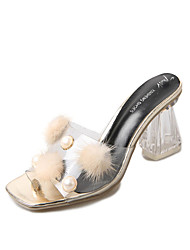 Women's Slippers & Flip-Flops Patent Leather Summer Fall Imitation Pearl Pom-pom Chunky Heel Gold Silver 2in-2 3/4in