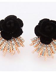 Euramerican  Fashion  Friendship  Rhinestone Lady  Office & Career  Black Flower  Earrings  Statement Jewelry