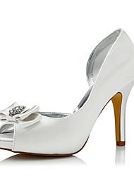 Women's Heels Comfort Silk Spring Fall Wedding Party & Evening Dress Comfort Sparkling Glitter Flower Stiletto Heel Ivory 3in-3 3/4in
