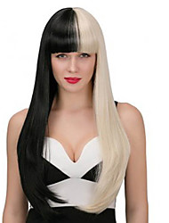 24inch Long Straight Half Blonde Black Synthetic Hair Cosplay Wig for Women's Party Wig