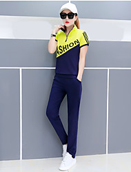 Women's Casual/Daily Active Summer T-shirt Pant Suits,Plaid Letter Stand Short Sleeve Jacquard Micro-elastic