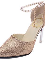 Women's Heels Glitter Summer Walking Pearl Stiletto Heel Gold Black Silver 3in-3 3/4in