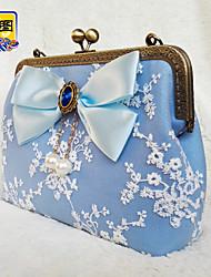 Women Evening Bag PU All Seasons Event/Party Wedding Baguette Bowknot Clasp Lock Light Blue