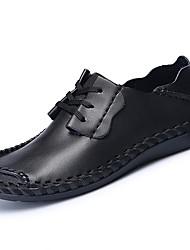 Men's Athletic Shoes PU Spring Summer Low Heel Black Dark Brown Khaki Under 1in