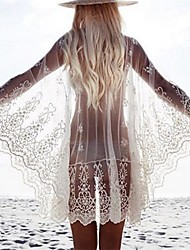 Women's Bandeau Cover-Up Mesh Polyester Embroidery
