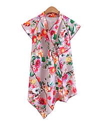 Damen Blumen Einfach Alltag T-shirt,V-Ausschnitt Kurzarm Polyester