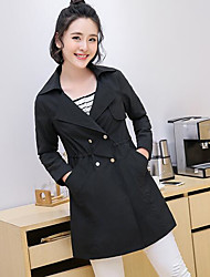 Women's Casual Simple Spring Coat,Solid Notch Lapel Long Sleeve Long Cotton