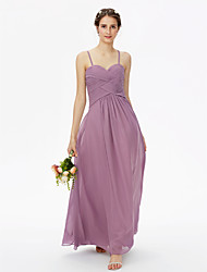A-Line Spaghetti Straps Floor Length Chiffon Bridesmaid Dress with Criss Cross Pleats by LAN TING BRIDE®