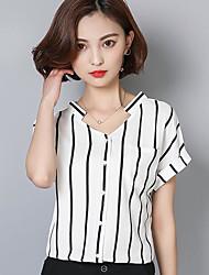 Damen Gestreift Sexy Normal T-shirt,V-Ausschnitt Kurzarm Andere