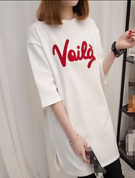 Damen Solide Buchstabe Einfach T-shirt,Rundhalsausschnitt Sommer ¾-Arm Polyester Dünn