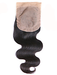 Malaysian Remy Hair Silk Base Closure Body Wave 100% Human Hair Middle Part Free Part Closure