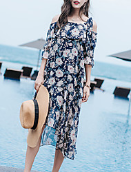 Women's Beach Going out Casual/Daily Simple Boho Loose Chiffon Dress,Floral Strap Midi Asymmetrical Short Sleeve Polyester ChiffonSummer