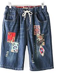 Feminino Fofo Cintura Alta Inelástico Shorts Calças,Largo Gráfico Estampas Abstratas