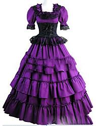 Uma-Peça/Vestidos Gótica Lolita Cosplay Vestidos Lolita Vintage Concha Manga Curta Comprido Vestido Para Outro