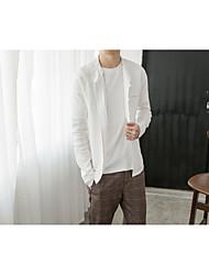 Masculino Camisa Social SimplesSólido Linho Colarinho Chinês Manga Longa