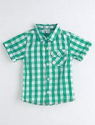 Boys' Houndstooth Shirt,Cotton Summer Short Sleeve