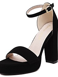 Damen High Heels Pumps Wildleder Sommer Herbst Normal Kleid Pumps Blockabsatz Schwarz 12 cm & mehr