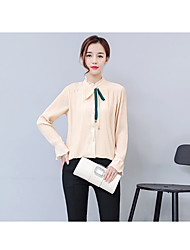 Women's Business Daily Evening Party Sexy Cute Sophisticated Blouse,Solid Color Block Jewel Long Sleeve Linen Bamboo Fiber