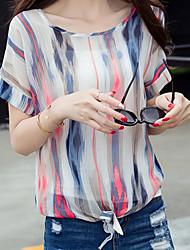 Sign 2017 summer blouses Korean Fan Slim yards striped shirt bottoming shirt chiffon shirt