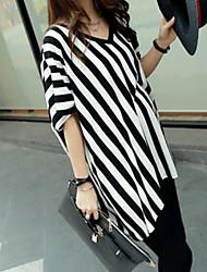 Tee-shirt Femme,Rayé simple ½ Manches Col en V Coton
