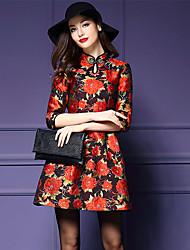Feminino Bainha Vestido,Casual Festa/Coquetel Vintage Simples Floral Colarinho Chinês Acima do Joelho Manga ¾ Algodão PrimaveraCintura
