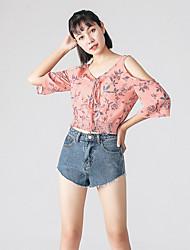 Damen Blumen Einfach T-shirt,V-Ausschnitt ½ Länge Ärmel Polyester