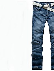 Men's Low Rise Inelastic Jeans Pants,Street chic Loose Solid