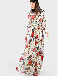 Women's Beach Holiday Sexy Sheath Swing Dress,Floral Deep V Maxi Long Sleeve Others Spring Fall Mid Rise Inelastic Thin