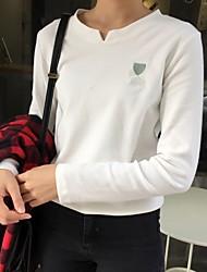 Damen Solide Einfach Lässig/Alltäglich T-shirt,V-Ausschnitt Langarm Baumwolle