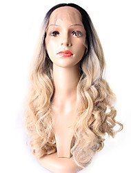 European Style Long Loose Wavy Ombre 1B/613 Synthetic Wigs 2 Tone Ombre Color Lace Front Wig