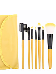 7pcs Yellow Makeup Brush Set Blush Brush Eyeshadow Brush Eyeliner Brush Eyelash Brush dyeing Brush Powder Brush Sponge Applicator Synthetic Hair